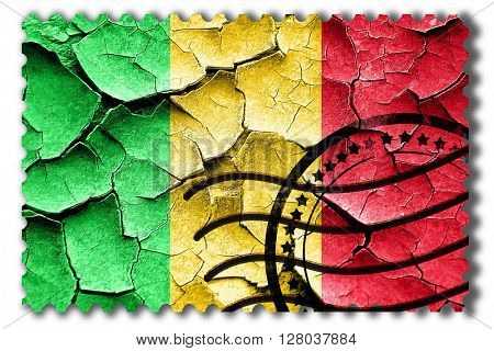 Grunge Mali flag with some cracks and vintage look