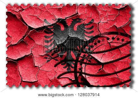 Grunge Albania flag with some cracks and vintage look