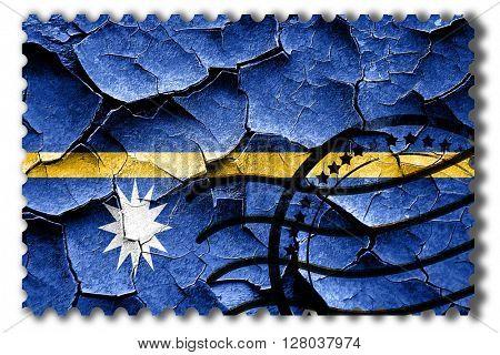 Grunge Nauru flag with some cracks and vintage look
