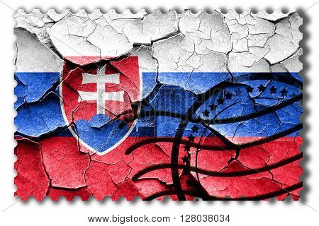 Grunge Slovakia flag with some cracks and vintage look