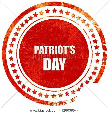 patriot's day, grunge red rubber stamp on a solid white backgrou