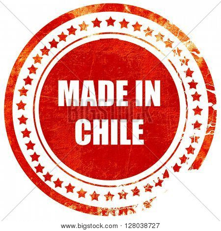 Made in chile, grunge red rubber stamp on a solid white backgrou