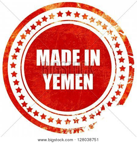 Made in yemen, grunge red rubber stamp on a solid white backgrou