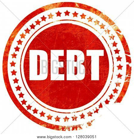 Debt sign with some smooth lines, grunge red rubber stamp