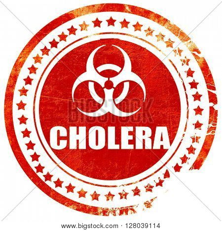 Cholera concept background, grunge red rubber stamp