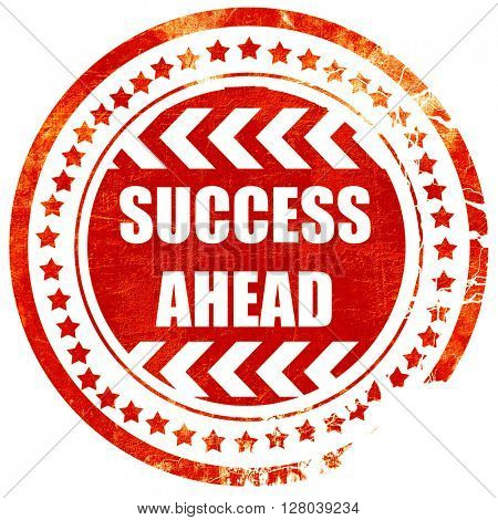 Success sign with smooth lines, grunge red rubber stamp
