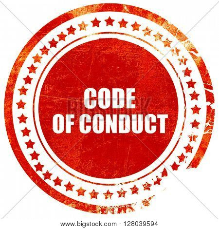 code of conduct, grunge red rubber stamp on a solid white backgr