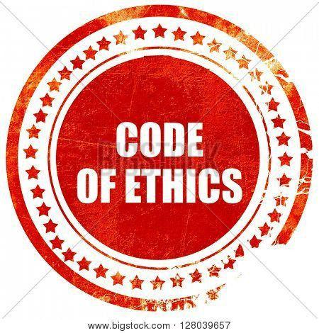 code of ethics, grunge red rubber stamp on a solid white backgro