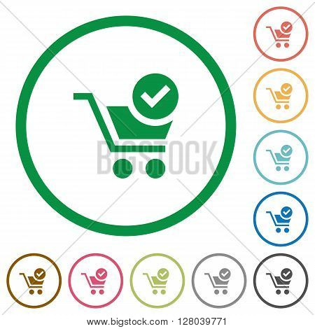 Set of checkout color round outlined flat icons on white background