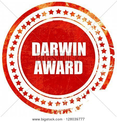 darwin award, grunge red rubber stamp on a solid white backgroun