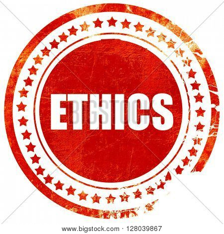 ethics, grunge red rubber stamp on a solid white background