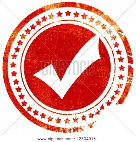 Approved tick with smooth lines, grunge red rubber stamp on a so