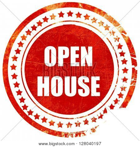 Open house sign, grunge red rubber stamp on a solid white backgr