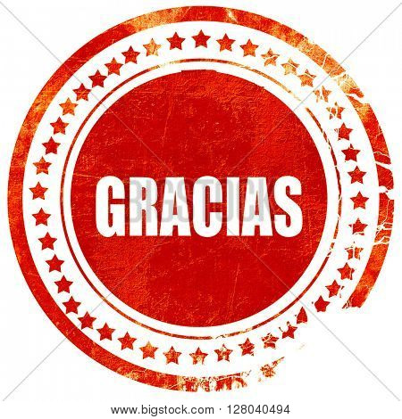 gracias, grunge red rubber stamp on a solid white background
