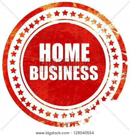 home business, grunge red rubber stamp on a solid white backgrou