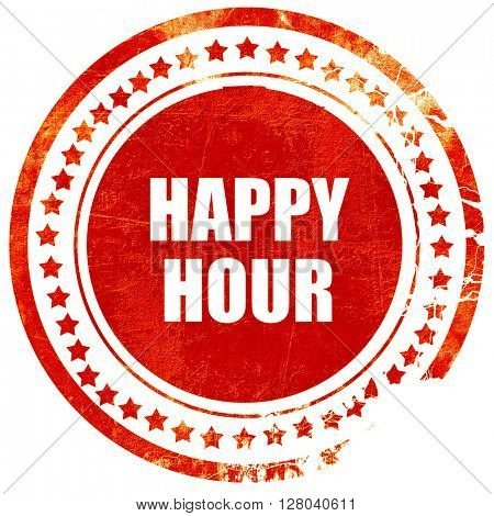 happy hour, grunge red rubber stamp on a solid white background