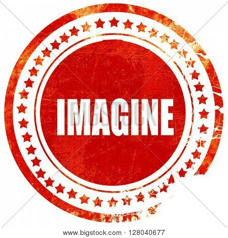 imagine, grunge red rubber stamp on a solid white background