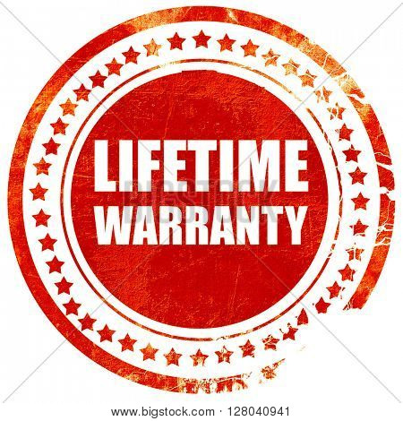 lifetime warranty, grunge red rubber stamp on a solid white back
