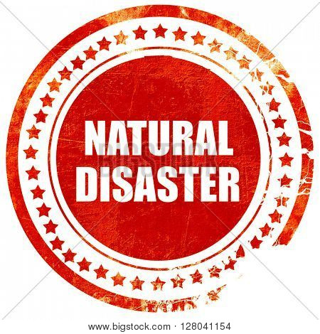 natural disaster, grunge red rubber stamp on a solid white backg