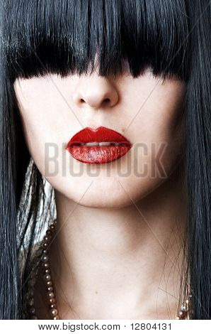 Closeup Portrait Of Woman Face With Red Lips