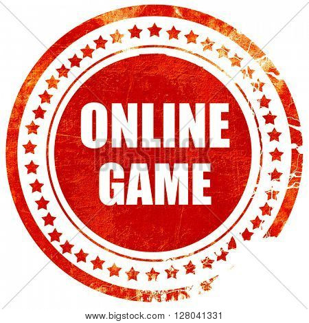 online game, grunge red rubber stamp on a solid white background