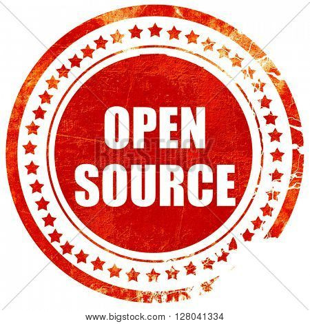 open source, grunge red rubber stamp on a solid white background