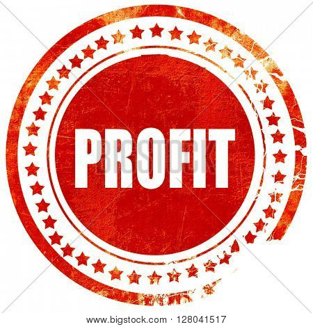 profit, grunge red rubber stamp on a solid white background