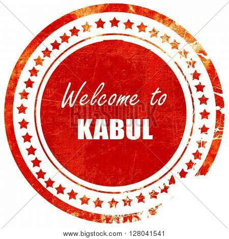 Welcome to kabul, grunge red rubber stamp on a solid white backg