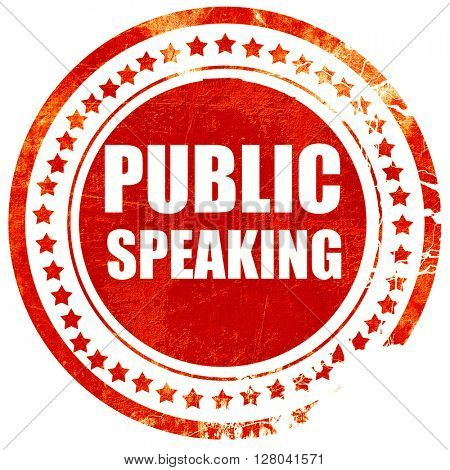 public speaking, grunge red rubber stamp on a solid white backgr