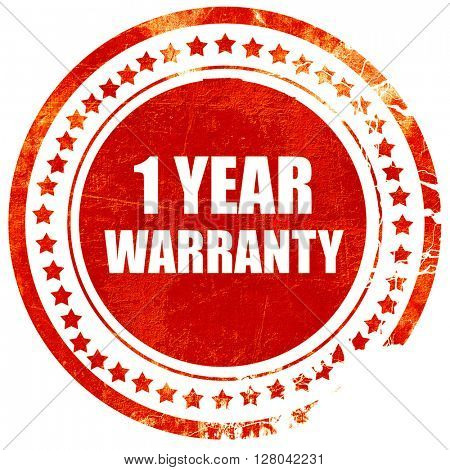 1 year warranty, grunge red rubber stamp on a solid white backgr