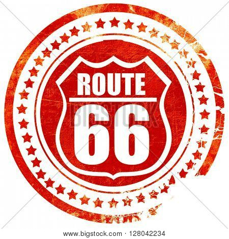 Route 66 sign, grunge red rubber stamp on a solid white backgrou