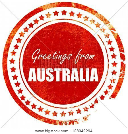 Greetings from australia, grunge red rubber stamp on a solid whi