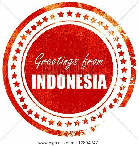 Greetings from indonesia, grunge red rubber stamp on a solid whi