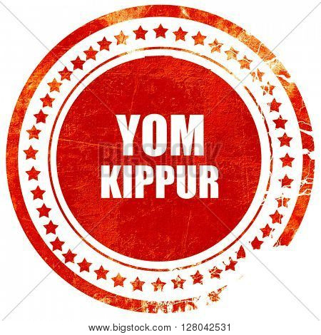 yom kippur, grunge red rubber stamp on a solid white background
