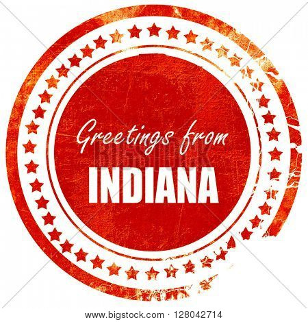 Greetings from indiana, grunge red rubber stamp on a solid white