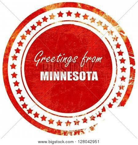 Greetings from minnesota, grunge red rubber stamp on a solid whi