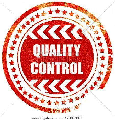 Quality control background, grunge red rubber stamp on a solid w