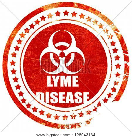 Lyme virus concept background, grunge red rubber stamp on a soli