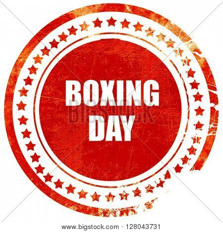 boxing day, grunge red rubber stamp on a solid white background