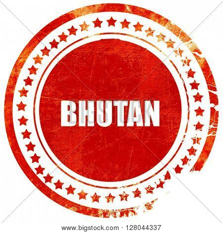 Greetings from bhutan, grunge red rubber stamp on a solid white