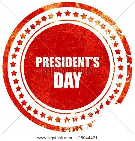 president's day, grunge red rubber stamp on a solid white backgr