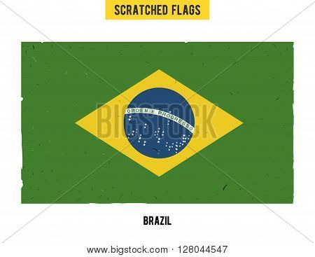 Brazilian grunge flag with little scratches on surface. A hand drawn scratched flag of Brazil with a easy grunge texture. Vector modern flat design.