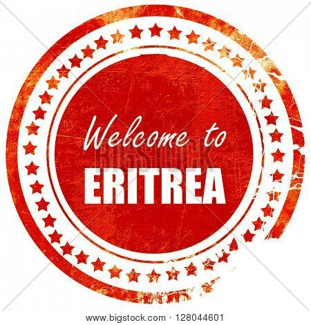 Welcome to eritrea, grunge red rubber stamp on a solid white bac