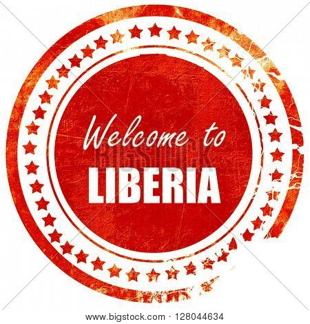 Welcome to liberia, grunge red rubber stamp on a solid white bac