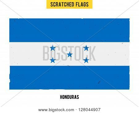 Honduran grunge flag with little scratches on surface. A hand drawn scratched flag of Honduras with a easy grunge texture. Vector modern flat design.