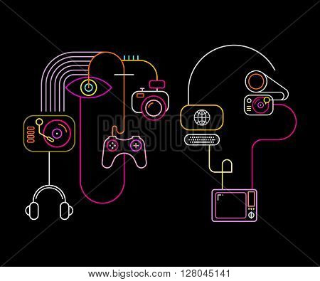 Neon colors on a black background Abstract Faces vector illustration. Abstract line art composition with home electronics.