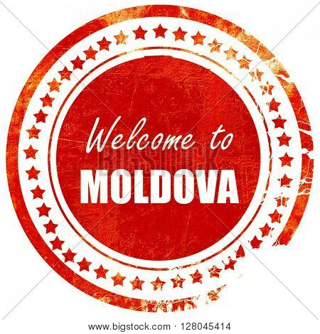 Welcome to moldova, grunge red rubber stamp on a solid white bac