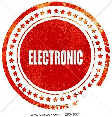 electronic music, grunge red rubber stamp on a solid white backg