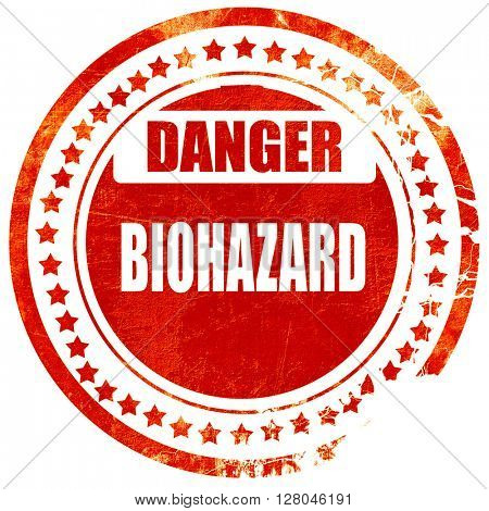 Biohazard sign background, grunge red rubber stamp on a solid wh