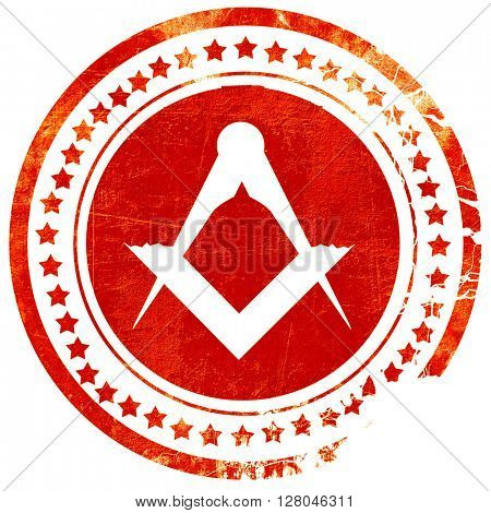 Masonic freemasonry symbol, grunge red rubber stamp on a solid w